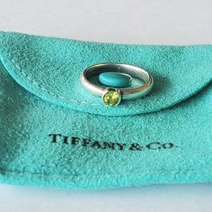 Tiffany & Co Sterling Silver Peridot Stack Ring